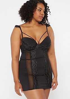 Plus Black Mesh Lace Flounce Strappy Babydoll