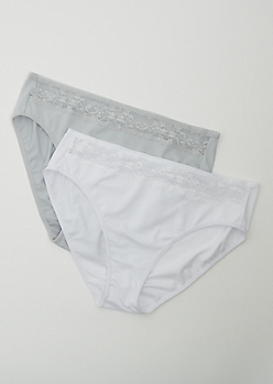 Plus 2-Pack Gray & White High Waist Bikini Undies