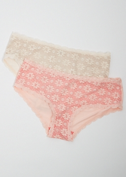 Plus 2-Pack Pink Daisy Lace Cheeky Bikini Undies Set