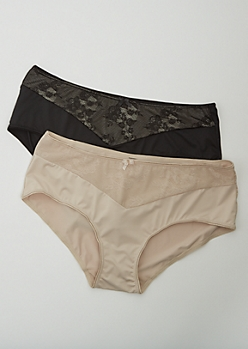 Plus 2-Pack Black & Nude Lace Brief Undies