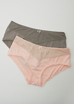 Plus 2-Pack Charcoal and Pink Bikini Undies Set