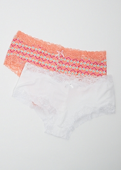 Plus 2-Pack Geo Lace Trim Boyshort Undies