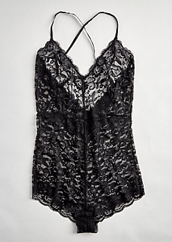 Plus Black Lace Cage Strap Bodysuit
