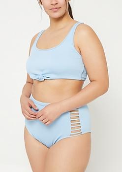 Plus Light Blue Knotted Ribbed Knit Bralette Bikini Top
