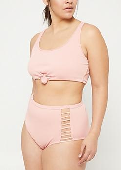 Plus Light Pink Knotted Ribbed Knit Bralette Bikini Top