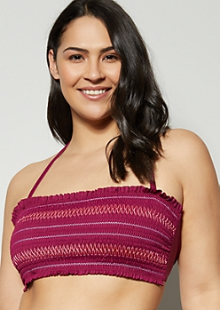 Plus Burgundy Smocked Flounce Bandeau Bikini Top