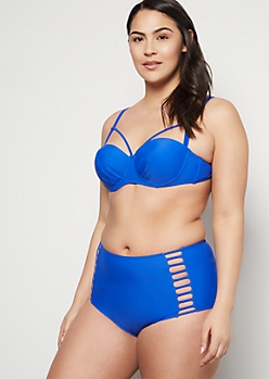 Plus Royal Blue Caged Tie Back Push Up Bikini Top