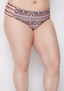 Plus Coral Western Print Strappy Side Hipster Bikini Bottoms