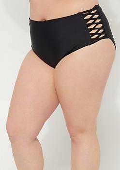 Plus Black Macramé High Waist Bikini Bottoms