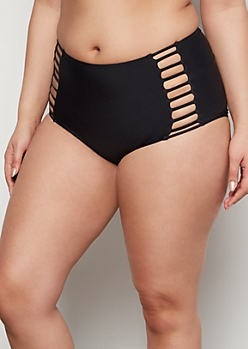 Plus Black Caged High Waisted Bikini Bottoms