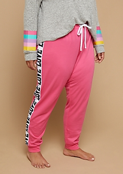 Plus Pink Love Stripe Sleep Joggers