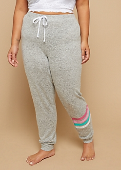 Plus Heather Gray Striped Pattern Hacci Knit Sleep Joggers