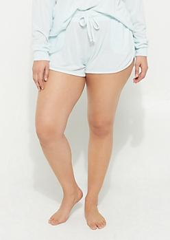 Plus Light Blue Hacci Knit Dolphin Shorts