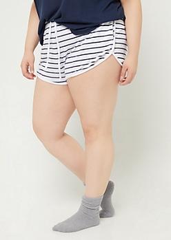 Plus Striped Cozy Dolphin Shorts