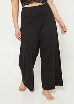 Plus Black Wide Leg Sleep Pants