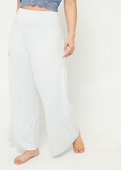 Plus Light Blue Wide Leg Sleep Pants