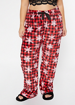 Plus Red Snowflake Buffalo Plaid Plush Sleep Pants