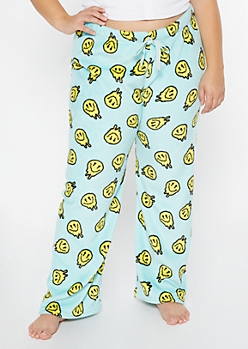 Plus Blue Drip Smiley Face Print Plush Sleep Pants