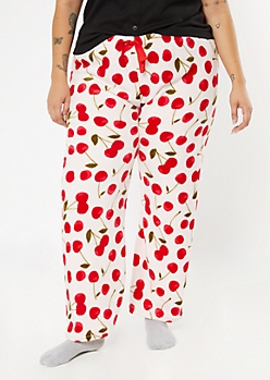 Plus Pink Cherry Print Plush Sleep Pants