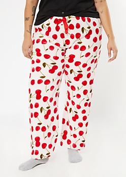 Plus Pink Cherry Print Plush Sleep Pants