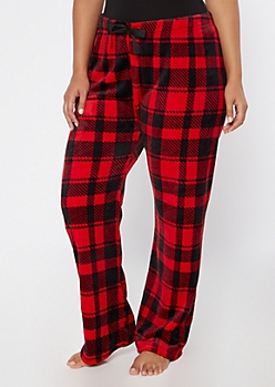Plus Red Plaid Plush Sleep Pants