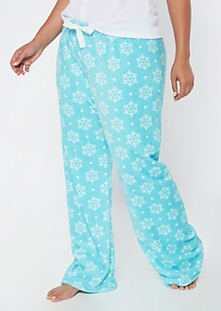 Plus Blue Snowflake Print Plush Sleep Pants