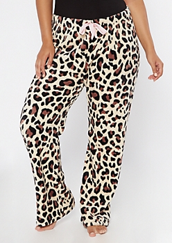 Plus Leopard Print Plush Sleep Pants