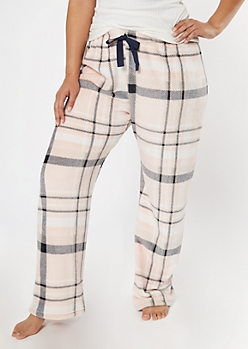 Plus Pink Plaid Print Plush Sleep Pants