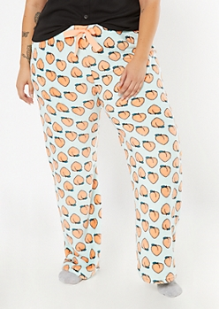 Plus Mint Peach Print Plush Sleep Pants