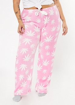 Plus Pink Weed Print Plush Sleep Pants