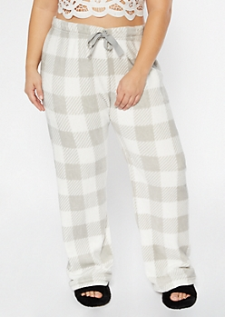 Plus White Plaid Print Plush Sleep Pants