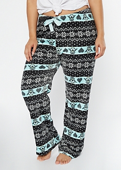 Plus Black Penguin Fair Isle Plush Sleep Pants