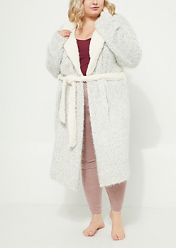 Plus Gray Eyelash Knit Robe