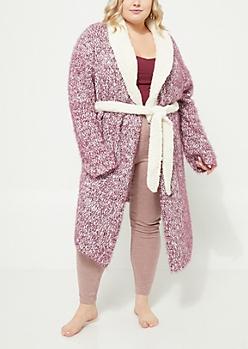 Plus Purple Eyelash Knit Robe