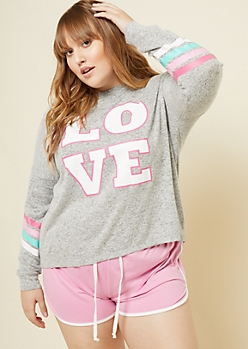 Plus Heather Gray Multi Striped Love Hacci Knit Sleep Top