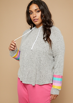Plus Heather Gray Striped Pattern Hacci Knit Hoodie