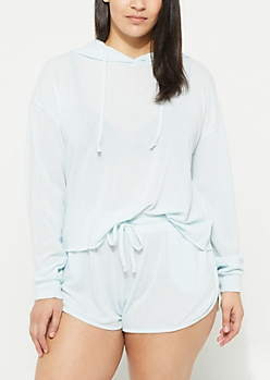 Plus Light Blue Hacci Knit Cropped Hoodie