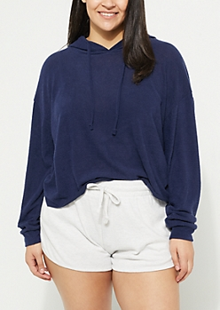 Plus Navy Hacci Knit Cropped Hoodie
