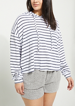 Plus White Striped Hacci Knit Cropped Hoodie