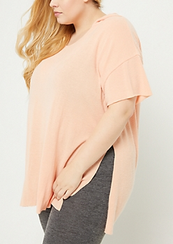 Plus Coral Oversized Hooded Tunic