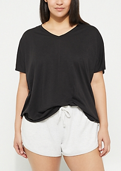 Plus Black Slub Knit Slouch Tee