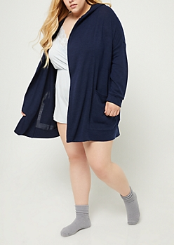 Plus Navy Hooded Duster