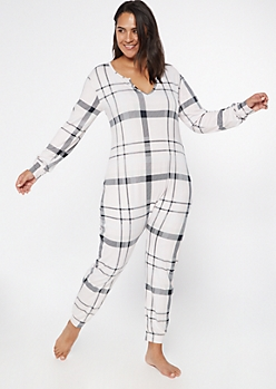 Plus Light Pink Plaid Soft Sleep Onesie