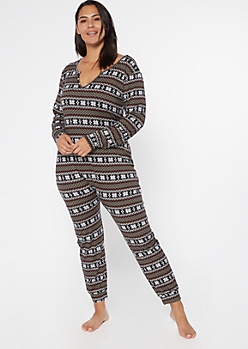 Plus Black Fair Isle Print Soft Sleep Onesie