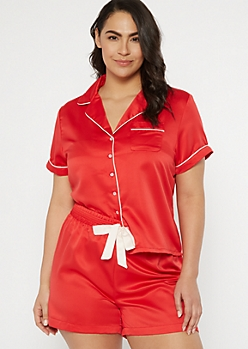 Plus Red Satin Short Sleep Set