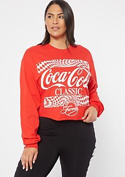 Plus Red Checkered Print Coca Cola Graphic Tee