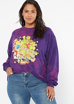 Purple Tie Dye Nickelodeon Crew Long Sleeve Graphic Tee