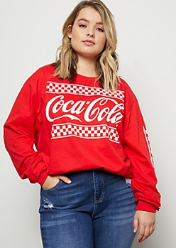 Plus Red Checker Print Long Sleeve Coke Graphic Tee