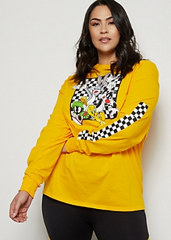 Plus Mustard Looney Tunes Checkered Print Graphic Tee