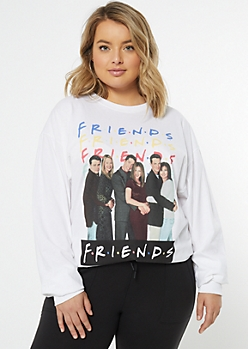 Plus White Logo Friends Cast Graphic Tee